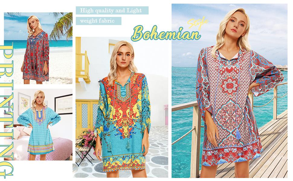 High quality and Lightweight fabric bohemian summer dress for women casual summer beach dress