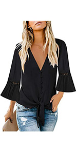 Women's V Neck Button Down Shirt Casual 3/4 Sleeve Tie Knot Tops Blouses