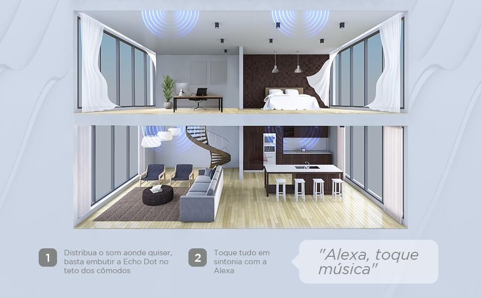 Casa com suporte de embutir para Echo Dot, som em todos os cômodos