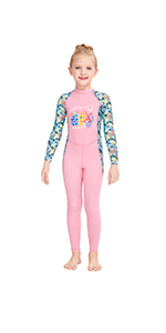 Pink Girls One Piece Rash Guard