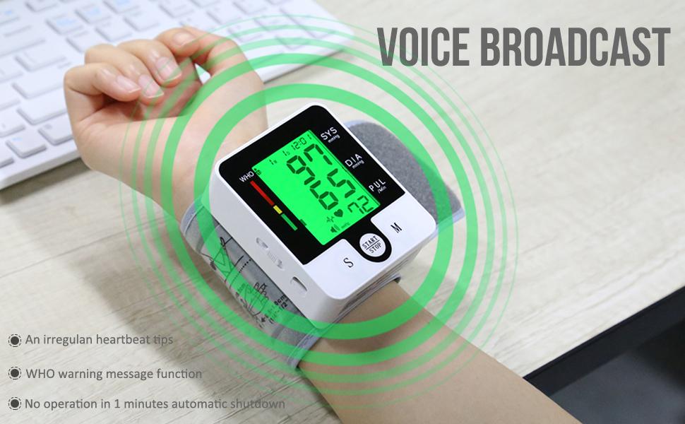 Blood Pressure Monitor Large LCD Display amp; Adjustable Wrist Cuff