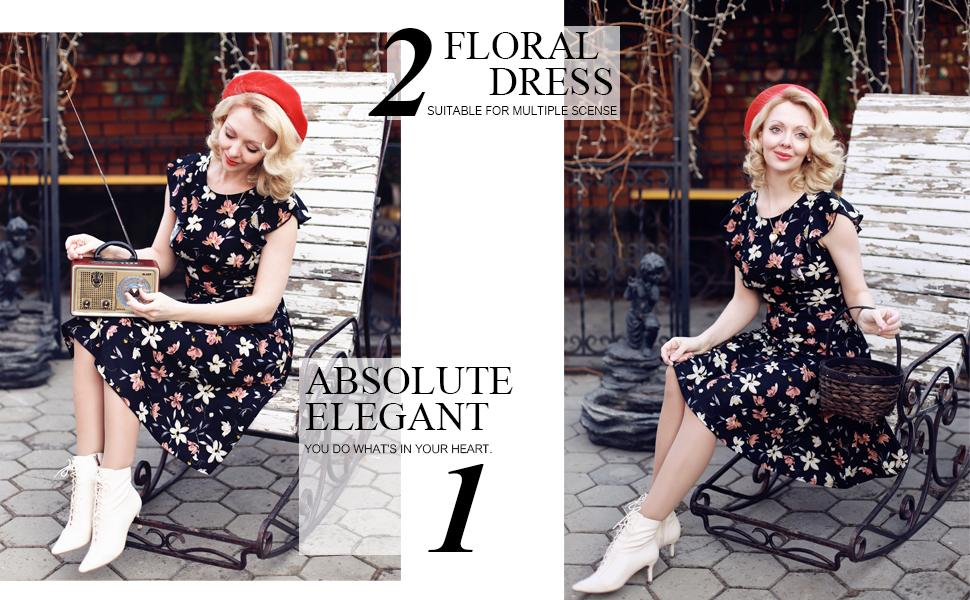 Women's Vintage Ruffle Floral Flared A Line Swing Wedding Guest Casual Cocktail Party Dresses
