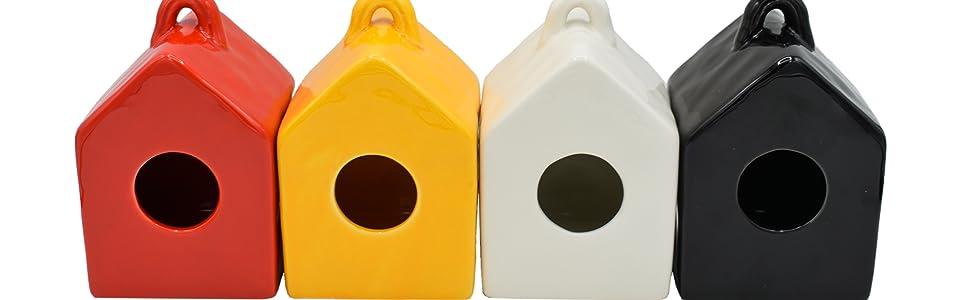 Multiple Colors Mini Ceramic birdhouse for shelf decor