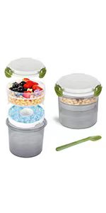 Yogurt Cup with Ice Pack Parfait Dessert Cups with Lids Snack Overnight Oats Cereal Meal Pre