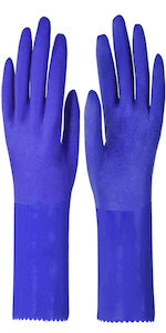 Short industrial gloves 11 inches long, MUMUKE chemical resistant pvc coating, reusable