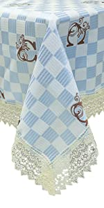 blue white plaid tablecloth  checker farmhouse  square rectangle tablecloth kitchen dining room