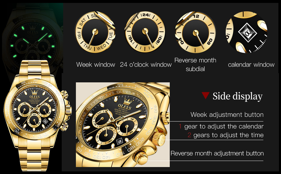 Multi-functional Classic Design Fashionable And Stylish Black Green Blue Men Watches
