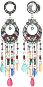 Surgical Steel Multicolor Beads Tassel Dangle Ear Gauges Piercing Flesh Tunnels Plugs