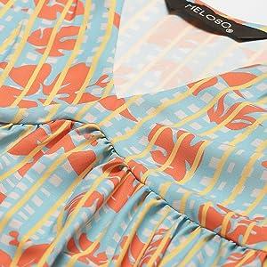 Sky Blue & Orange Floral Stripes Printed V Neck Dress
