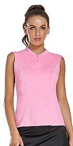 Zip up Sleeveless Golf Shirt