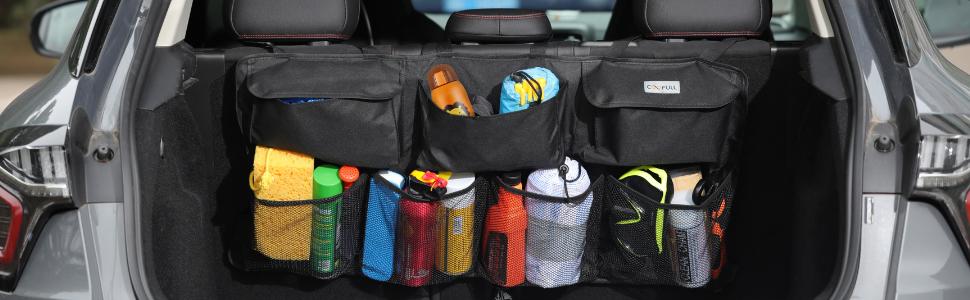 COOFULL Car Trunk Organiser,Super Capacity Car Hanging Bag, Car Boot Tidy Storage Bag, Black