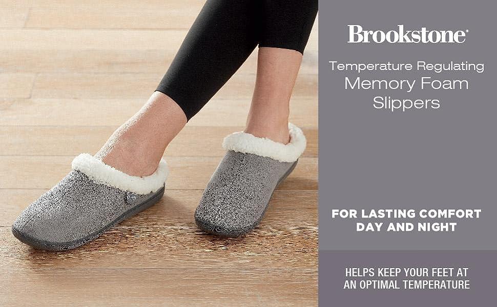 Temperature Regulating Memory Foam Slip-on Sherpa lined Slippers Grey