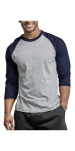 men's baseball inspired tee short three quarter long sleeve sleeves shirt