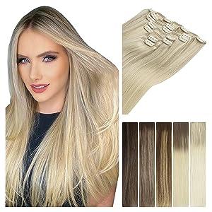 real human hair clip in hair