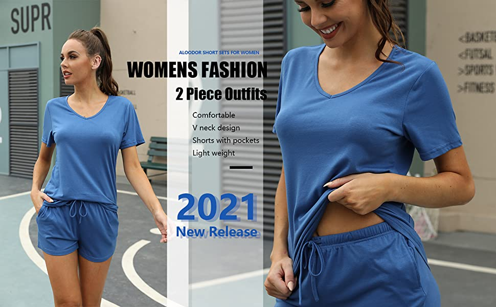 two pieces outfits for women summer athletic sets lounge sets