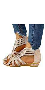Womens Sandals Crystal  Flat Zip Up Wedge Sandals