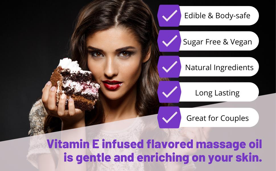 Birthday Cake vitamin E infused flavored massage oil