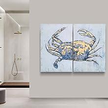costal wall art for bathroom