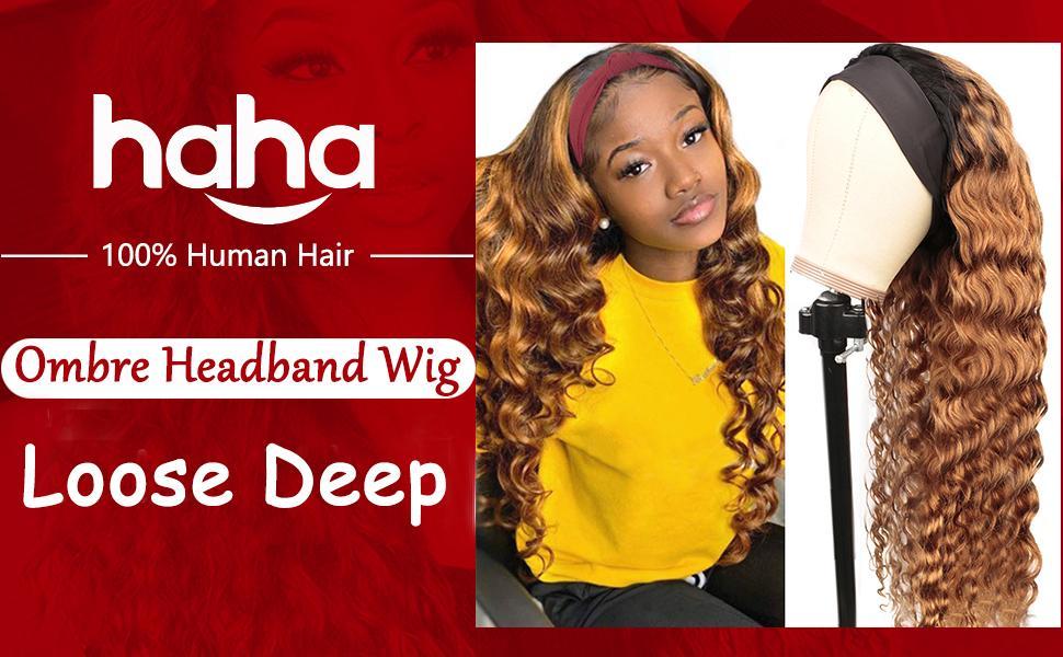 Ombre Headband Wig Loose Deep Wave