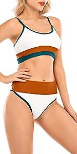 Costumi da Bagno Donna Vita Alta in Due Pezzi Bikini Capestro Bendare