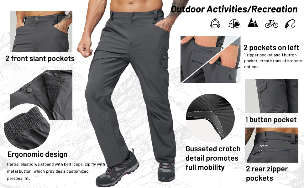 outdoor hiking pants with pocket
