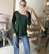 ULTRANICE Casual Tops for Women Short/Long Sleeve T Shirts Blouse V-Neck Color Block Tunic Tops