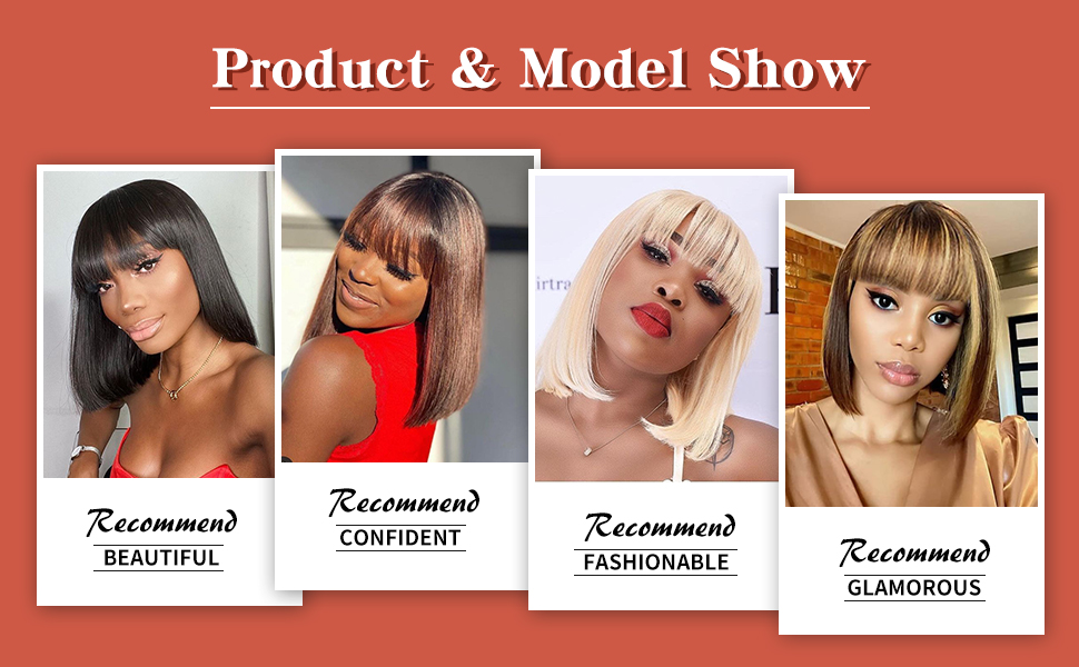 Straight Bob wig with Bangs Model Show
