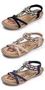 Elastic Ankle Strap Flat Sandal Women Casual Gladiator Bohemian Rhinestone Shoe Slip On Sandals