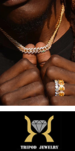 TRIPOD JEWELRY Mens Womens Iced Out Chain