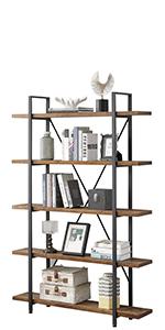 Solid Wood 5 Shelf Bookcase