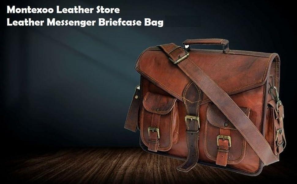 Leather Messenger Briefcase Satchel Shoulder Computer Bag
