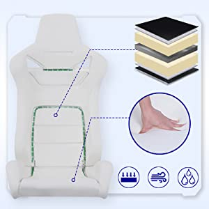 high density mould shaping foam,thick padded seat cushion,flexible contoured segmented padding