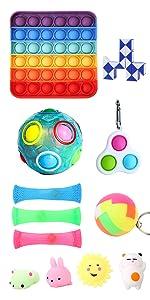 fidget pack of 12pcs with rainbow ball