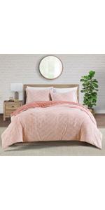 5-Pink Peach velvet comforter set