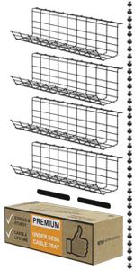 Under Desk Cable Management Tray Organizer Black Cord