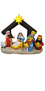 6 Foot Long Christmas Inflatable Nativity Scene with Three Kings Party Decoration Lights Outdoor
