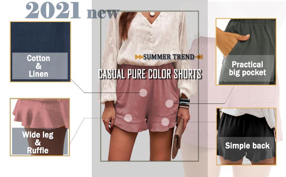 cotton shorts for women wide leg