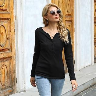 Women's Henley Shirts Long Sleeve V Neck Ribbed Button Knit Sweater Solid Color Tops