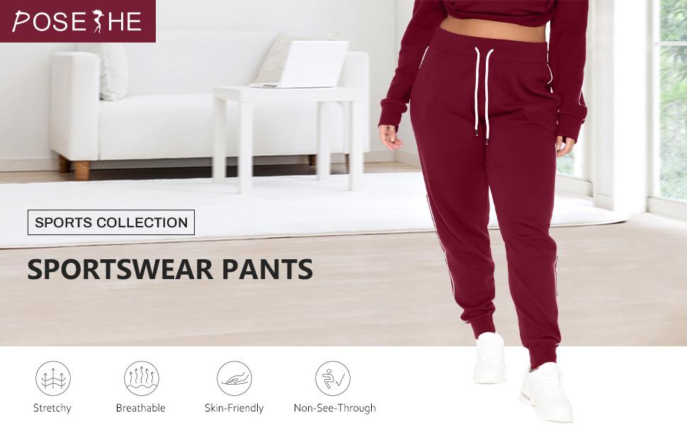 POSESHE Womens Plus Size Athletic Workout Yoga Lounge Pants