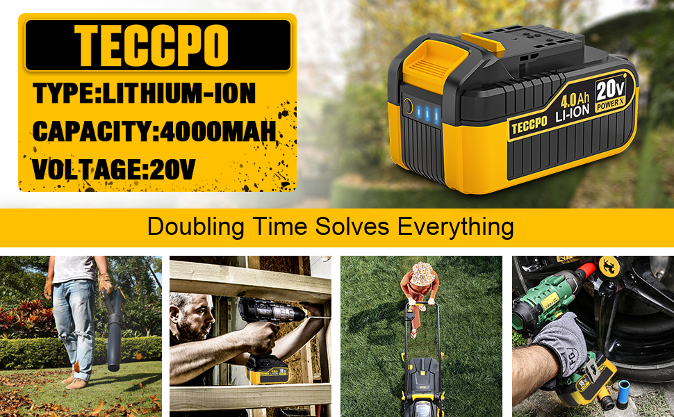 TECCPO 20V MAX 4.0 Ah Lithium Ion Battery-Pack