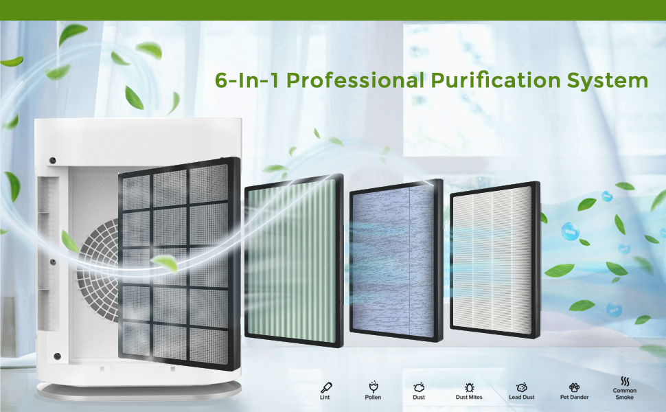ture HEPA filter efficiency 99.97%, Pollen, Smoke, Dust, Pet Dander, and Asthma, with Auto Mode