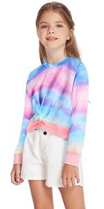 Kid Girls Long Sleeve Twisted Front Tie Dye Sweatshirts