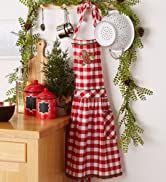 Red checked Christmas gingerbread apron