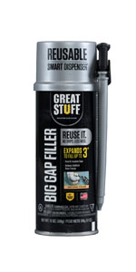 Big Gap Filler from DuPont fills gaps up to 3 inches for larger openings in and around your home.