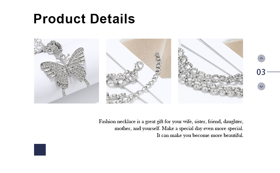 Earent Crystal Butterfly Choker Sparkly Butterfly Jewerly for Women and Girls