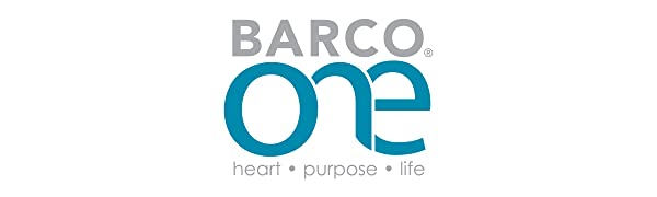 barco one logo with the text heart, purpose, life beneath it