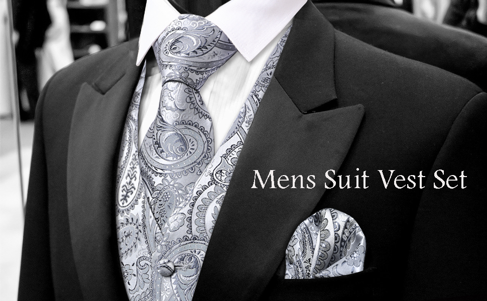 DiBanGu Black and Gold Pasiley Tie Set for Men