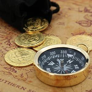 treasure chess pirate compass map gold coins doublon pirates