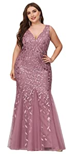 Double V-Neck Sleeveless Mermaid Dress Plus Size Evening Prom Dress