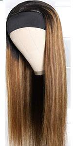 Highlight straight Human hair headband wigs